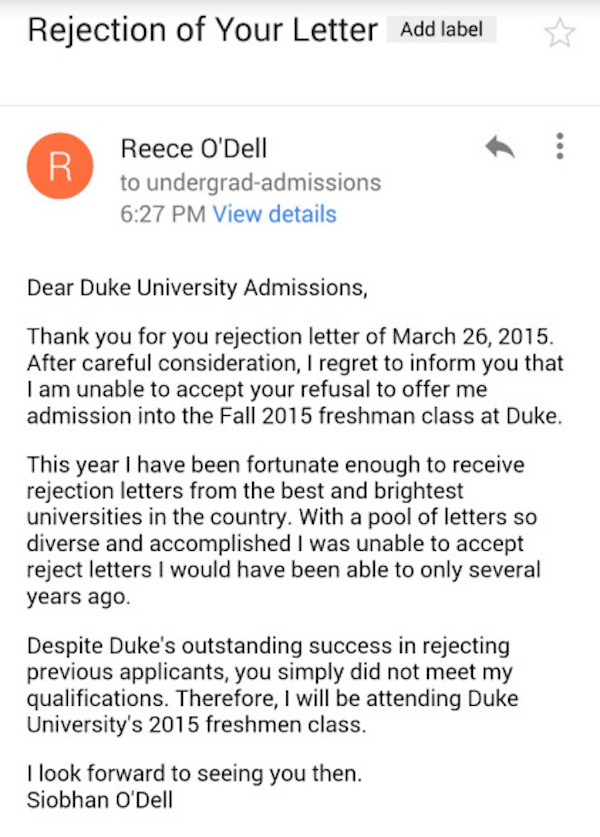 duke rejection disasters of a thirtysomething